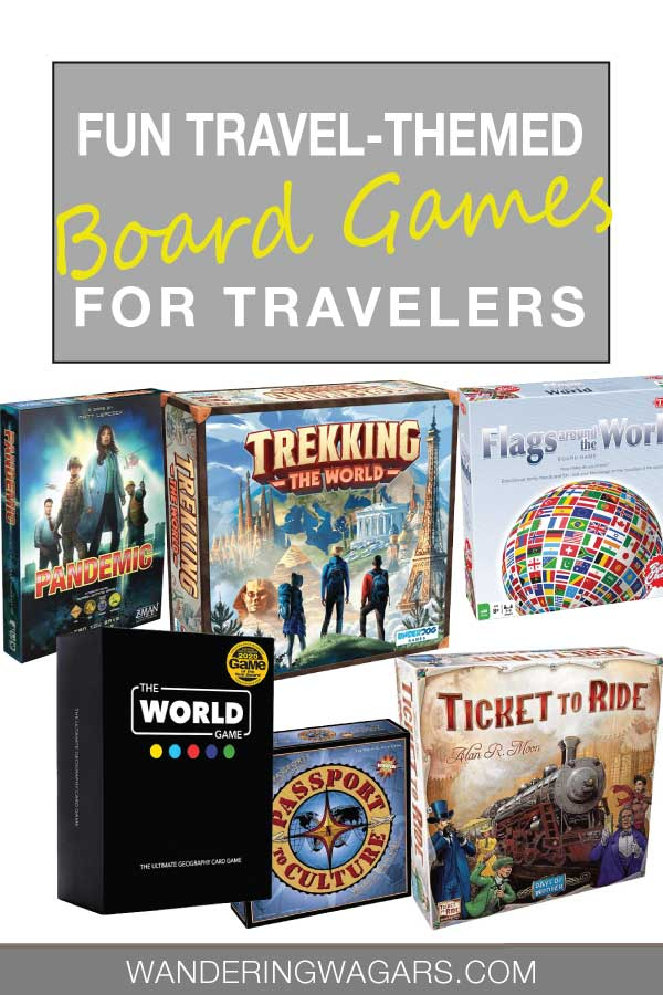 Different travel-themed board games