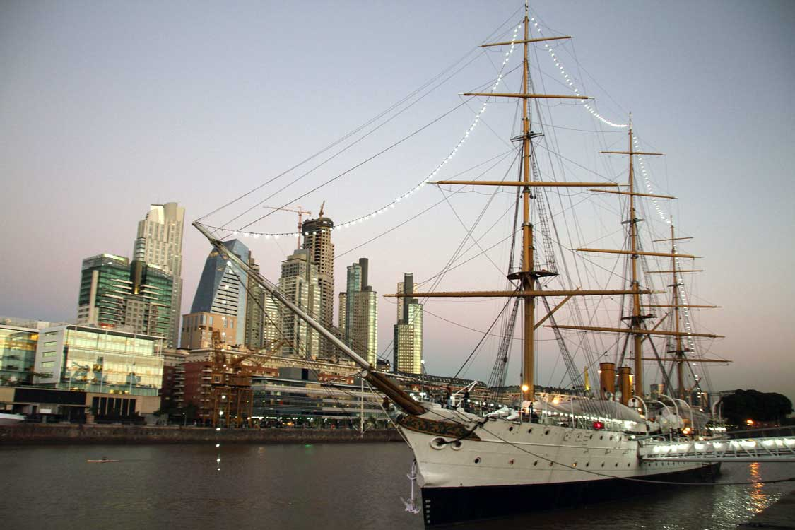 Boat docked at the harbor in Puerto Madero, Buenos Aires