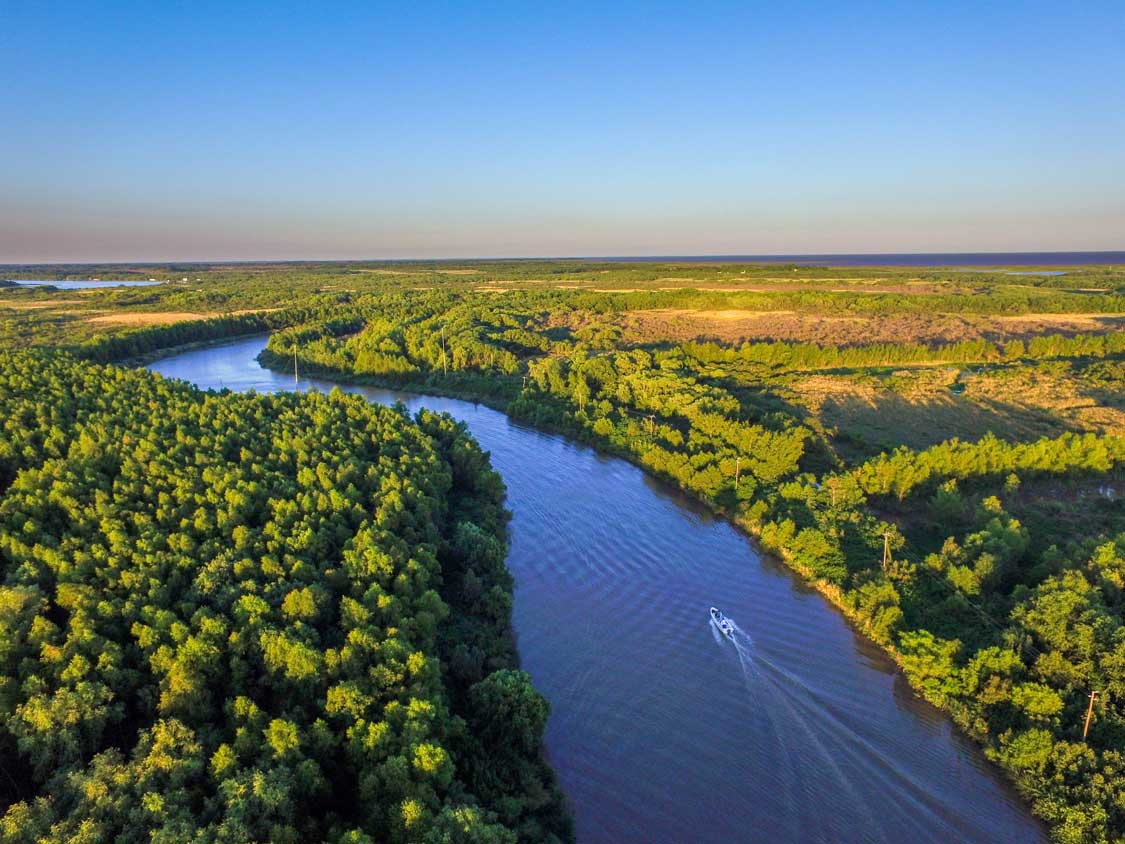 A boat winds through the Delta Parana in Tigre Buenos Aires