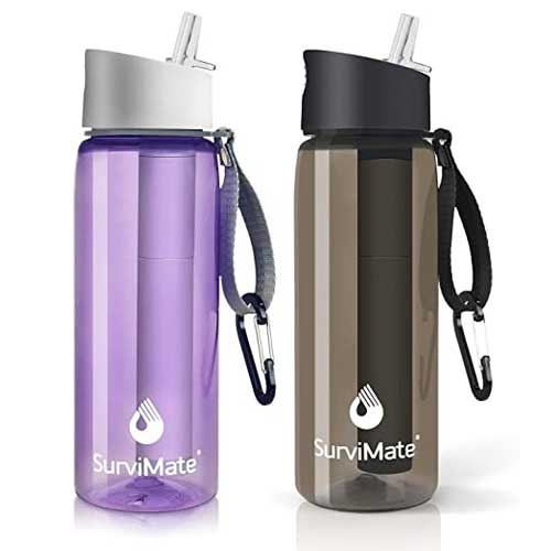 Blue and brown Survimate Filtered Waterbottles