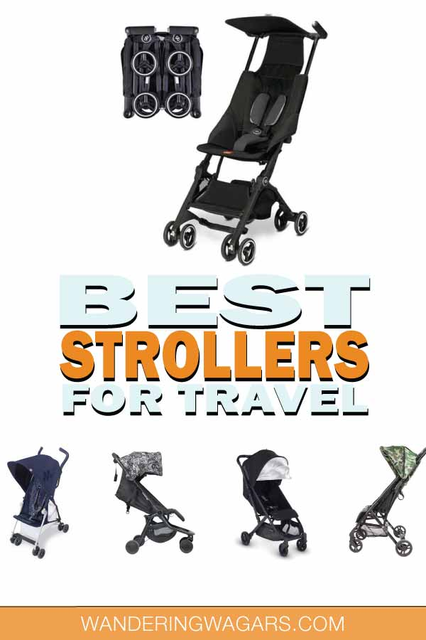 Collection of various lightweight travel strollers