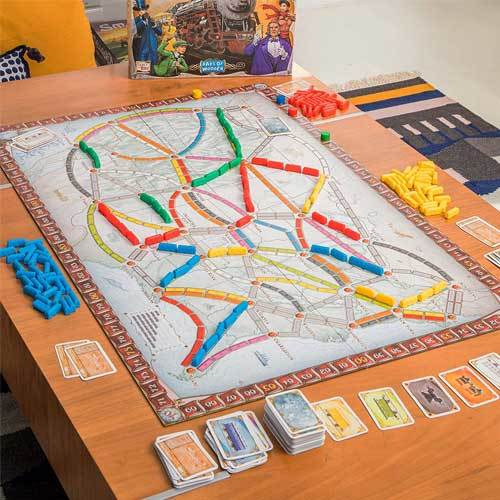 Ticket to ride travel board game on a table