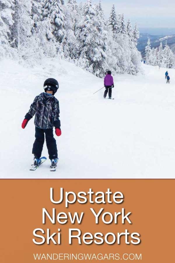 Boy skiing at a New York State ski resort