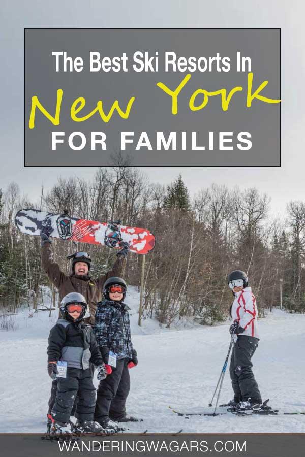 Family celebrating at the bottom of an Upstate New York ski resort