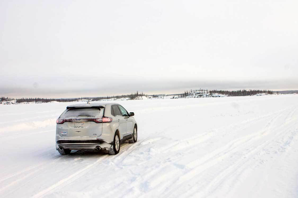 Driving the Dettah Ice Highway in Yellowknife, Northwest Territories