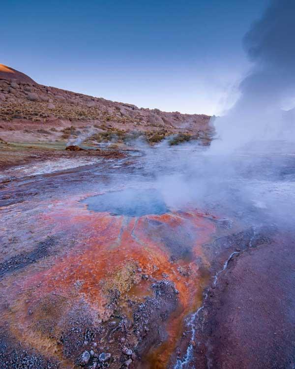 Colorful pools at the El Tatio Geysirs in San Pedro de Atacama