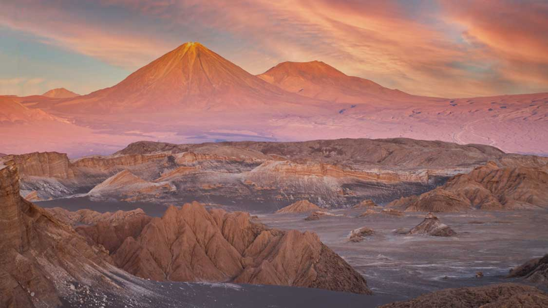 Sunset over the Valley of the Moon in the Atacama Desert