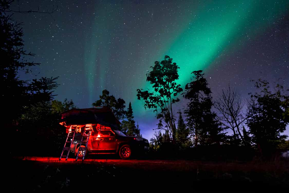 Camping under the northern lights in Sleeping Giant Provincial Park
