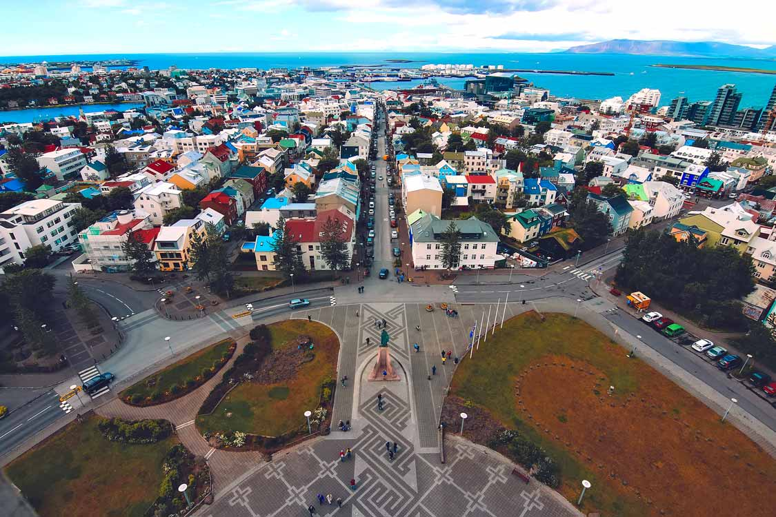 drone photo of the places to visit in Reykjavik, Iceland