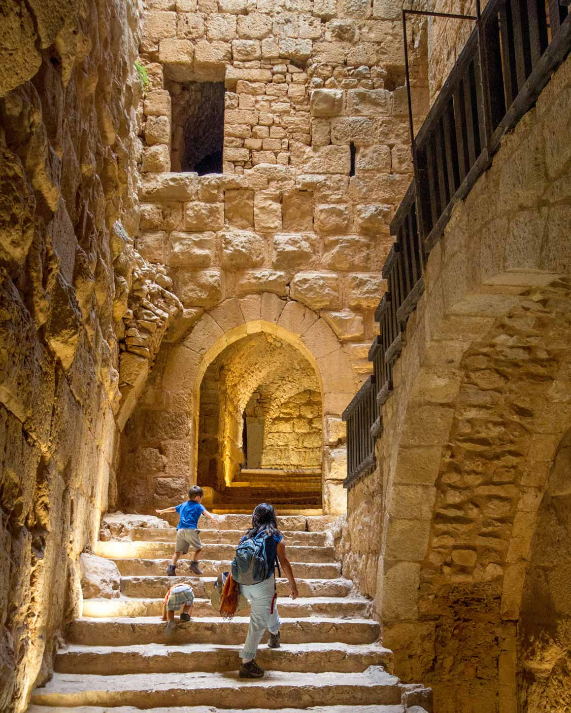 Family exploring the places to visit in Jordan at Aljoun Castle