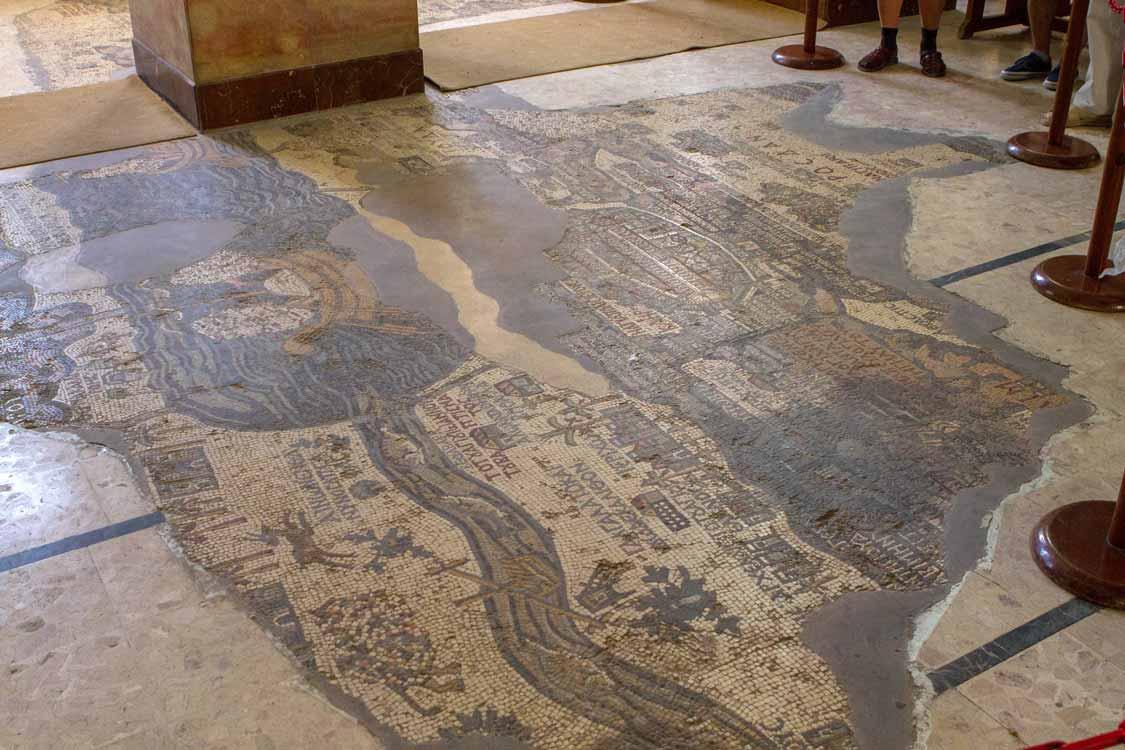 Mosaic floor tiles in Madaba, Jordan