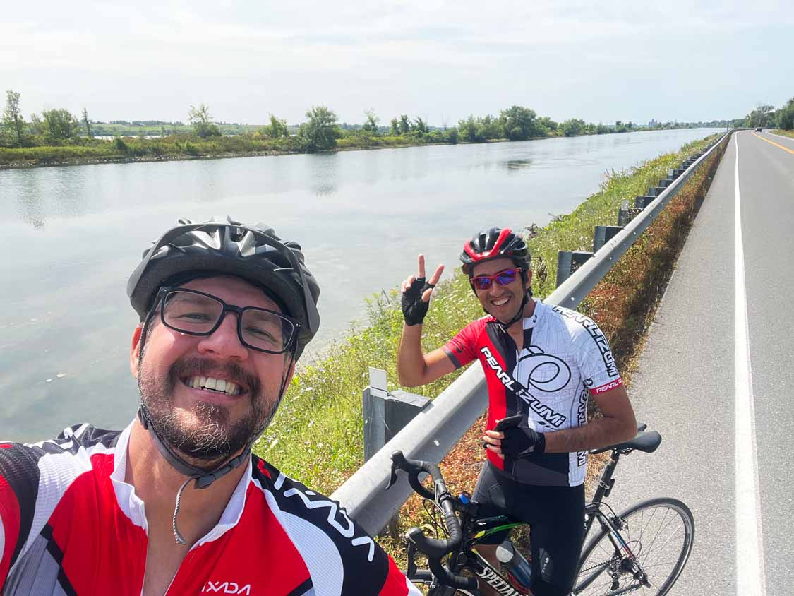Kevin Wagar cycling with friends in Ontario