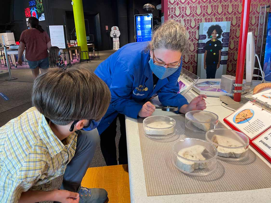 A Science North bluecoat teaches a child about biology