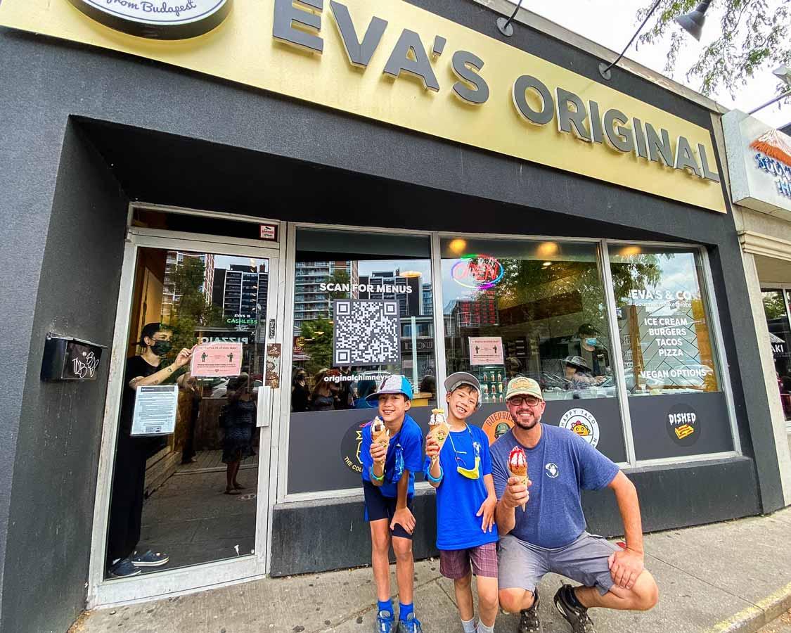 A family enjoys Eva's Originals ice cream in Mississauga