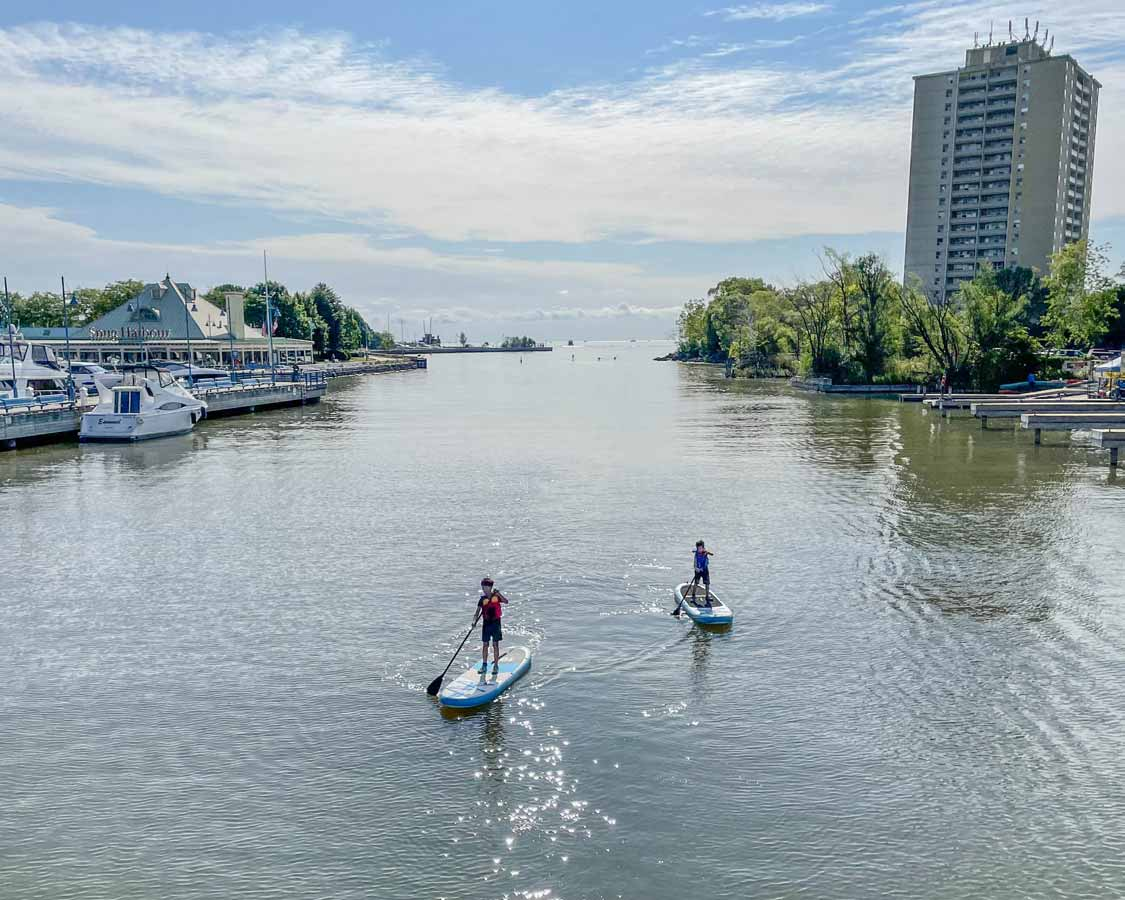Kids paddling the Credit River in Snug Harbour Mississauga